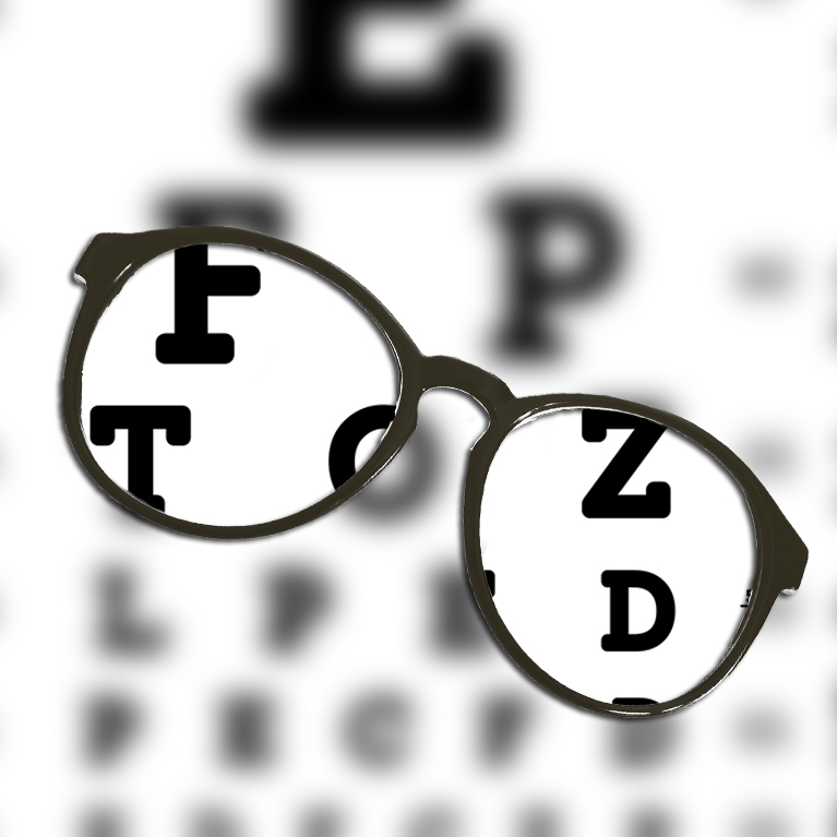 Glasses providing a clear view of vision chart